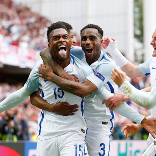 LENS, FRANCE - JUNE 16:  Daniel Sturridge and Danny Rose of England celebrate England's second goal during the UEFA EURO 2016 Group B match between England and Wales at Stade Bollaert-Delelis on June 16, 2016 in Lens, France.  (Photo by Christopher Lee - UEFA/UEFA via Getty Images)